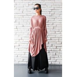 Loose Long Tunic/Ashes Of Rose Maxi Top/Extravagant Short Dress/Maxi Top