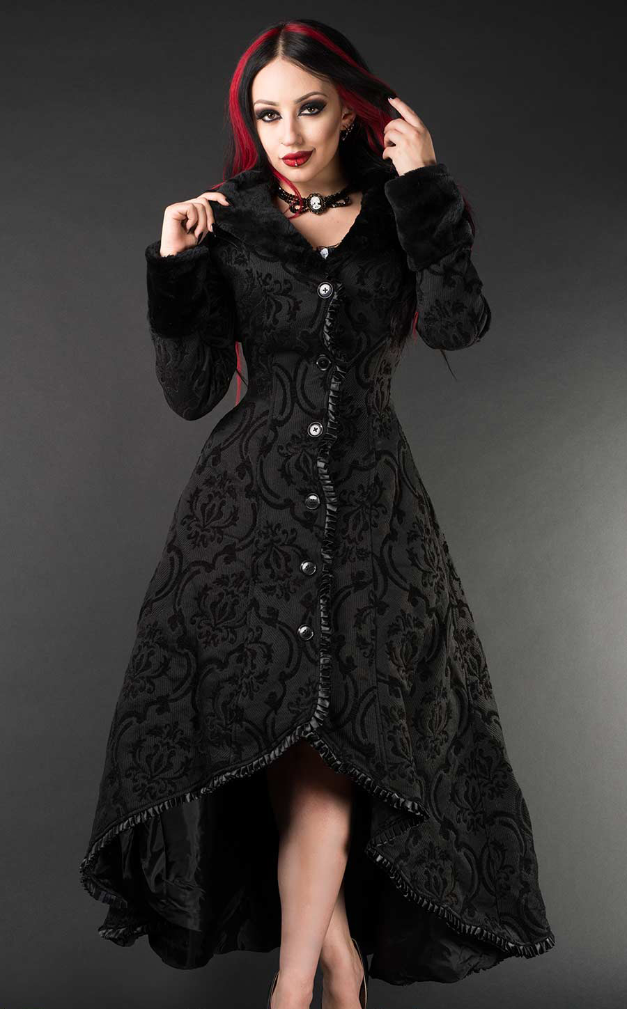 rebelsmarket_ladies_black_jacquard_victorian_gothic_long_fur_trim_winter_coat_9_to_ship_coats_4.jpg