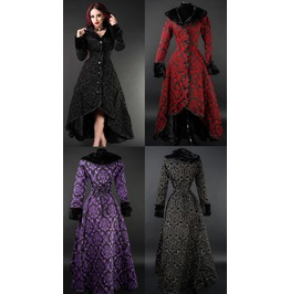 Black Purple Red Gray Jacquard Victorian Gothic Long Winter Coat Free Ship