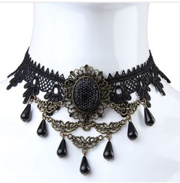 Vintage Gothic Metal Work Black Drop Beads Lace Choker Necklace