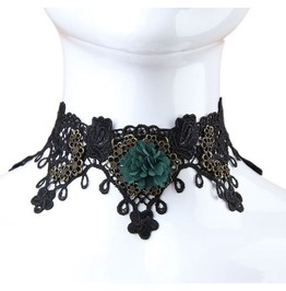 Vintage Gothic Metal Work Green Flower Lace Choker Necklace