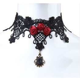 Vintage Gothic Metal Work Red Rose Lace Choker Necklace