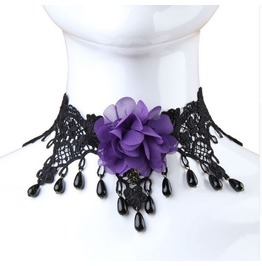 Vintage Gothic Metal Work Purple Flower Black Beads Lace Choker Necklace