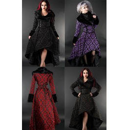 Ladies Double Breasted Brocade Faux Fur Trim Goth Long Winter Coat $6 Ship