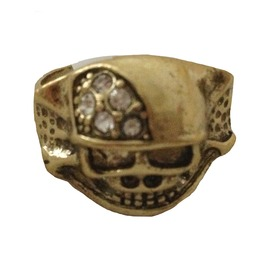 Cool Brass Crystal Skull Design Ring Size 18