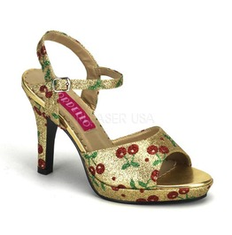 Bordello Amuse 05 G Gold Mini Glitter (Cherries) Ankle Strap Sandal