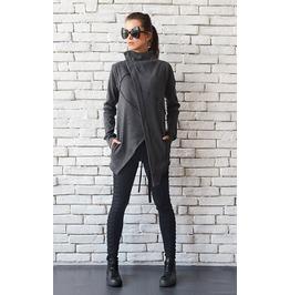 Oversize Grey Jacket/Asymmetric Loose Blazer/Short Grey Coat/Zipper Top