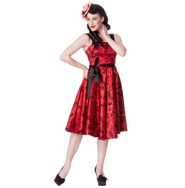 Brand New Retro Rockabilly Red Satin Tattoo Flock Swing Dress Pin Up