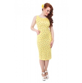 Brand New Vintage Style Yellow Hepburn Cherry Lips Pencil/Wiggle Dress