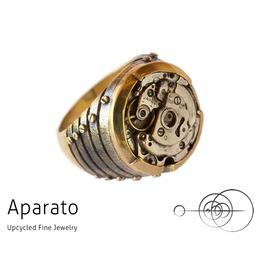 Jet Brass Steampunk Ring
