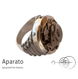 Jet Silver Steampunk Ring