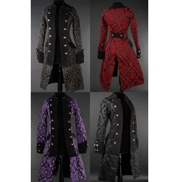 Ladies Brocade Pirate Princess Victorian Gothic Tail Coat Black Purple Red