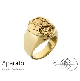 Smooth Gold Steampunk Ring Upcycled Jewelry With Timepiece