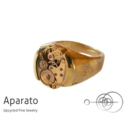 Smooth Brass Steampunk Ring Upcycled Jewelry With Timepiece