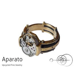 Line Brass Steampunk Ring Upcycled Jewelry With Timepiece