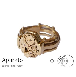 Line Gold 24 K Gold Plated Steampunk Ring Upcycled Jewelry With Timepiece