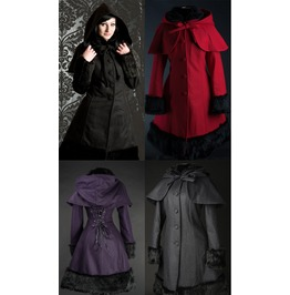 Ladies Red Gray Purple Black Faux Fur Trim Warm Wool Winter Coat