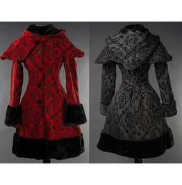 Ladies Red Or Black Faux Fur Cotton Fleece Gothic Winter Coat $6 To Ship
