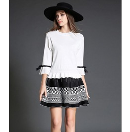Ruffle Sleeves White Top With Short Geometric Print Skirt 2 Pc. Set