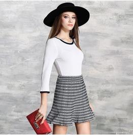Patchwork White Top Stripe Short Skirt Dress