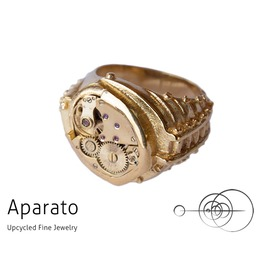 Preda 24 K Gold Plated Steampunk Ring Upcycled Jewelry With Timepiece