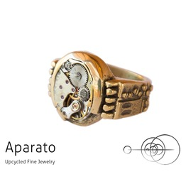 Punk Brass Steampunk Ring Upcycled Jewelry With Timepiece
