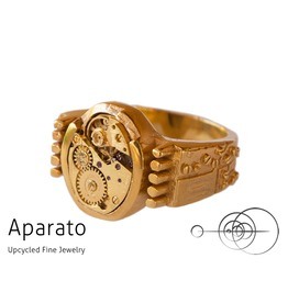 Punk 24 K Gold Plated Steampunk Ring Upcycled Jewelry With Timepiece