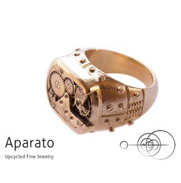 Square Stamp Gold Plated Steampunk Ring Upcycled Jewelry With Timepiece