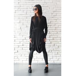 Black Asymmetric Tunic/Extravagant Casual Top/Loose Maxi Top/Plus Size Top