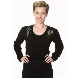 Banned Apparel Proud Peacock Cardigan Black And Night Blue