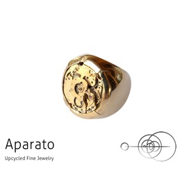 Stamp 24 K Gold Plated Steampunk Ring Upcycled Jewelry With Timepiece