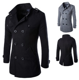 Mens Black/Gray Double Breasted Woolen Trench Coat