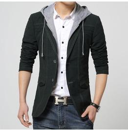 Mens Hooded Black/Khaki Jacket