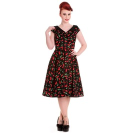 Brand New Gorgeous 50s Style Retro Black Cherry Swing Dress Rockabilly