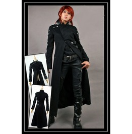 Women's Gothic Denim Black Punk Rave Long Coat