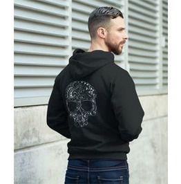 Tribal tattoo style gothic skull zip hoody hoodies and sweatshirts