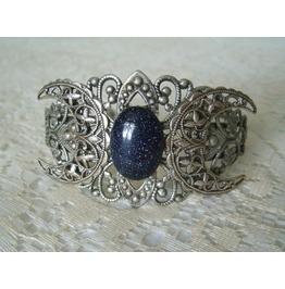 Goldstone Triple Moon Cuff Bracelet, Goddess Wiccan Pagan Goth Witchcraft