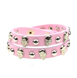 Enchanting! Pink Leather Skull Studded Wristband