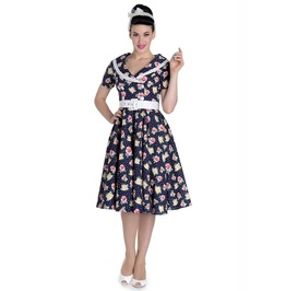 Brand New 1950s Inspired Navy Floral Spotty Shirtwaister Swing Dress