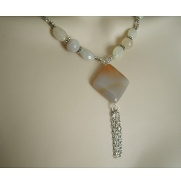 Moonstone And Quartz Necklace, Boho Bohemian Hippie Gypsy Hipster New Age