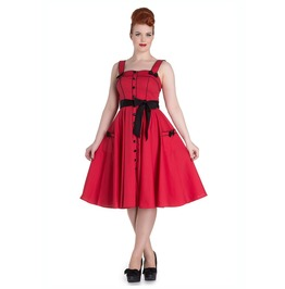 Vintage 1950s Style Red Polka Dot Swing Dress With Bows Rockabilly Pinup