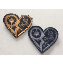 Embroidered Steampunk Mechanical Heart Iron/Sew On Patch