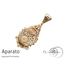 Steampunk Drop 42 K Gold Plated Pendant