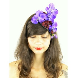 Headpiece Fascinator With Purple Blue Orchid Cascading And Raspberries