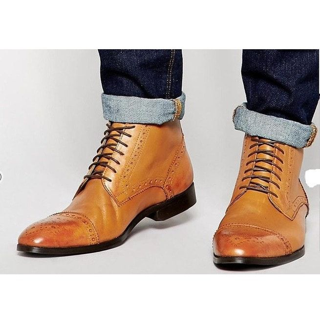 Handmade Custom Men Casual Tan Ankle