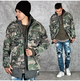 Masculine Distressed Camouflage Military Jacket 213