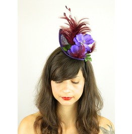 Fascinator Headpiece With Purple Blue Orchid, Feathers And Raspberries
