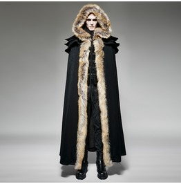 Punk Rave Unisex Gothic Woolen Hooded Maxi Coat Black Y 673