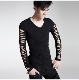 Punk Rave Men's Punk Hollow Out Long Sleeve T Shirt Black T312