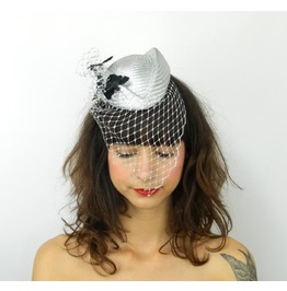 Pillbox Hat Fascinator With Feathered Butterflies And Cascading Veil